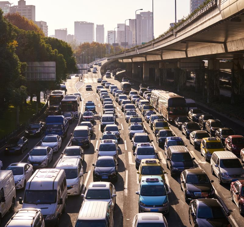 Heavy traffic jam during rush hour in shanghai , china royalty free stock photography