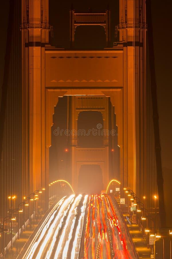 Heavy Traffic Night at the Golden Gate Bridge stock image