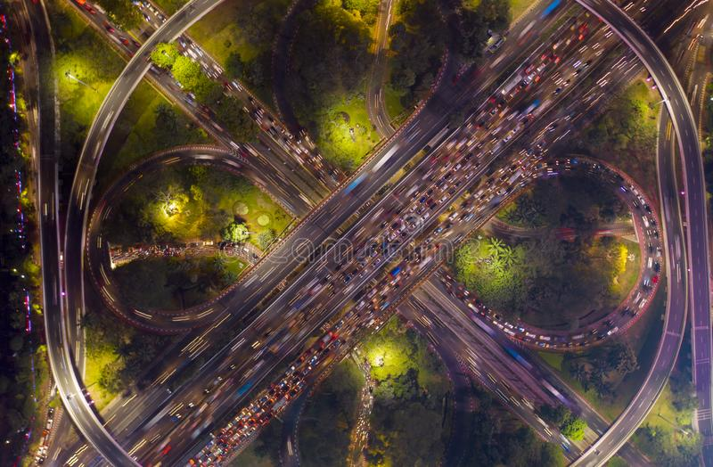 Heavy traffic on the Semanggi highway interchange royalty free stock images