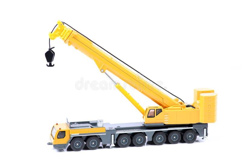 Heavy truck crane. Beautiful shot of heavy truck crane on white background stock image