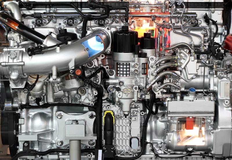 Heavy truck diesel engine stock images