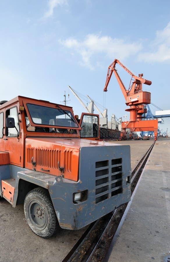 Heavy truck in the harbor stock photos