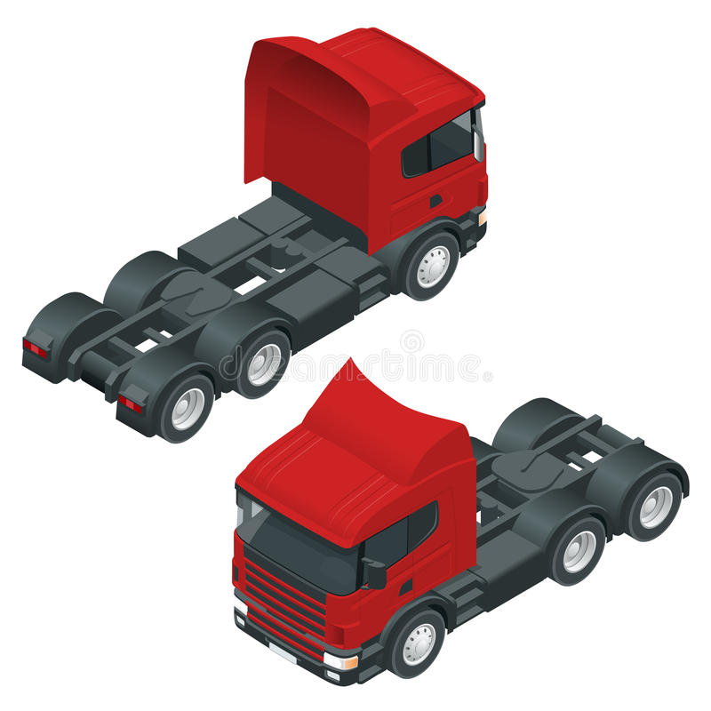 Heavy truck with the trailer. Isometric vector illustration. The set of objects isolated against the write background. Heavy truck with the trailer. 3D isometric vector illustration