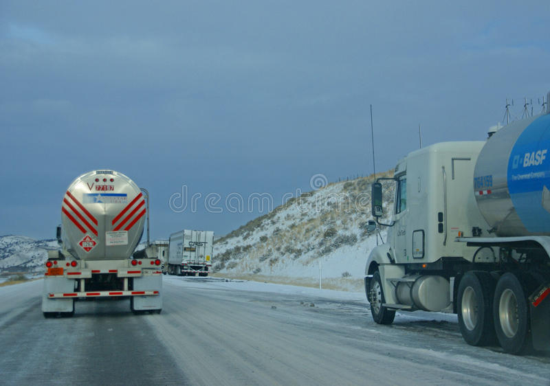 Download Heavy Trucks Speeding On Icy Freeway Editorial Image - Image of semi, driving: 9765680