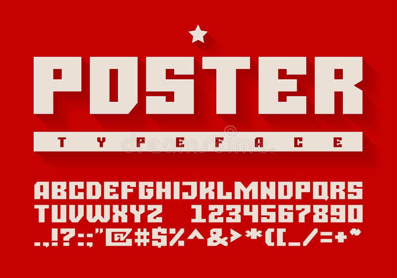 Heavy typeface. Uppercase letters, numbers and symbols stock illustration