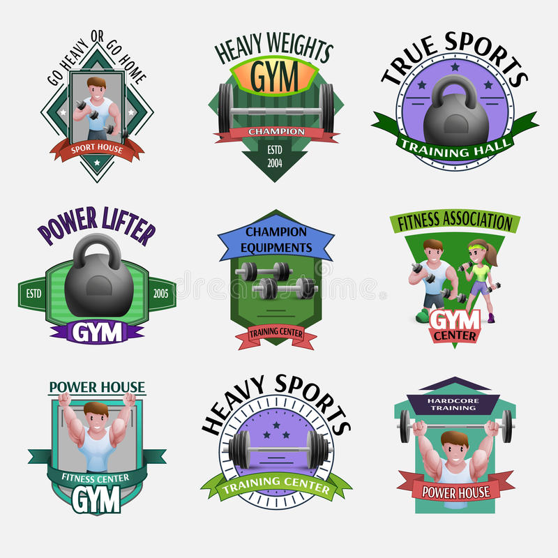 Heavy Weights Fitness Emblems Set royalty free illustration