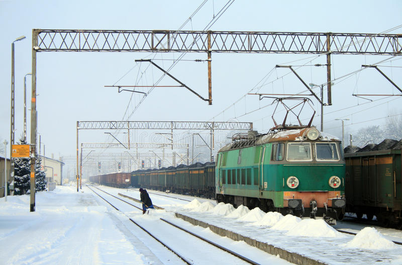 Heavy Winter At The Railway Station Royalty Free Stock Image