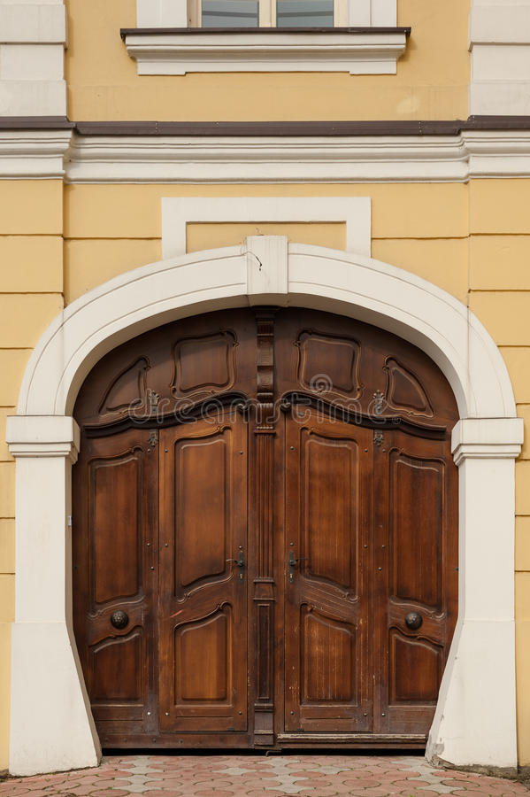 Heavy wooden doors stock image. Image of protection, forged - 39947371