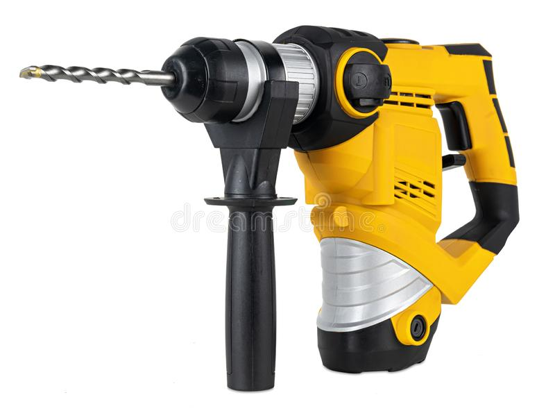 Heavy yellow black  jack-hammer drilling drill machine hand tool isolated white background. Construction working industry tools royalty free stock photos