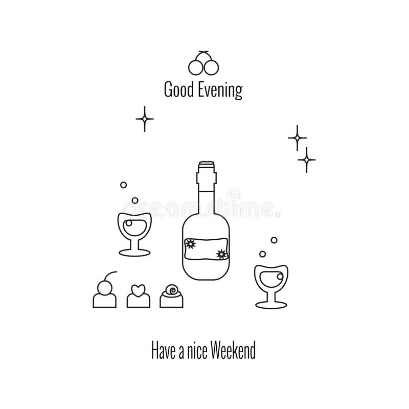Heb een aardig Weekend, Goede Avond nGlasses en fles wijn of brandewijn, suikergoed, sterren royalty-vrije illustratie