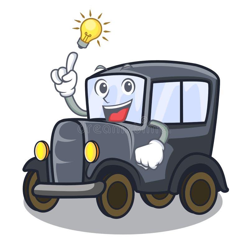 Heb een idee oude miniatuurauto in vormmascotte vector illustratie