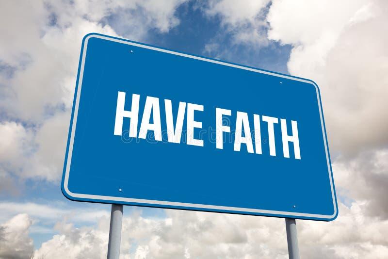 Heb geloof tegen blauwe hemel met witte wolken stock illustratie