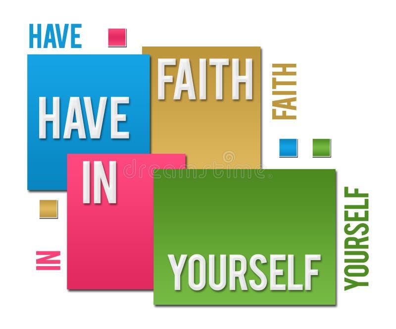 Heb Geloof in zich Kleurrijke Vierkantentekst stock illustratie