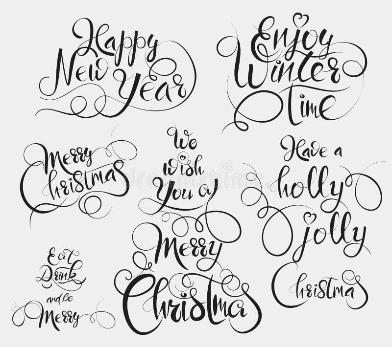 Heb Holly Jolly Christmas, geniet de winter van tijd, eet en drink en ben vrolijke, Vrolijke Kerstmis en Gelukkige Nieuwjaargroet royalty-vrije illustratie