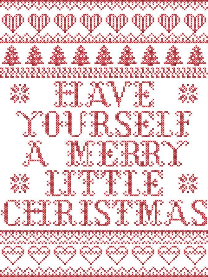 Heb zelf Vrolijk Weinig Kerstmis Skandinavisch naadloos die patroon door de noordse cultuur feestelijke winter wordt geïnspireerd vector illustratie