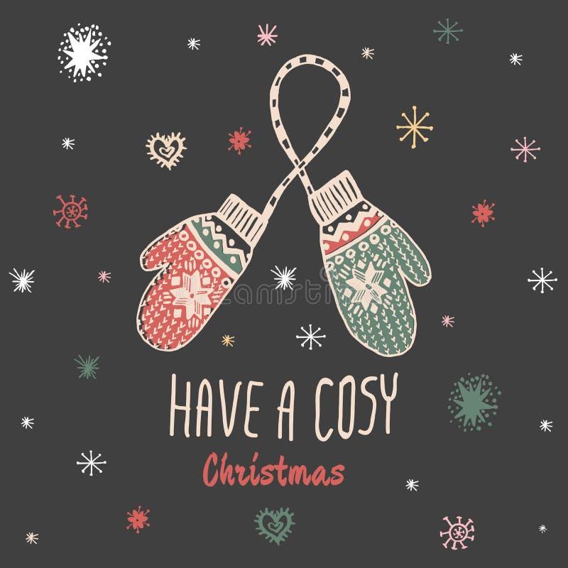 Hebben de Kerstmis uitstekende kaart met met hand getrokken vuisthandschoenen en de tekst 'Comfortabele Kerstmis' royalty-vrije illustratie