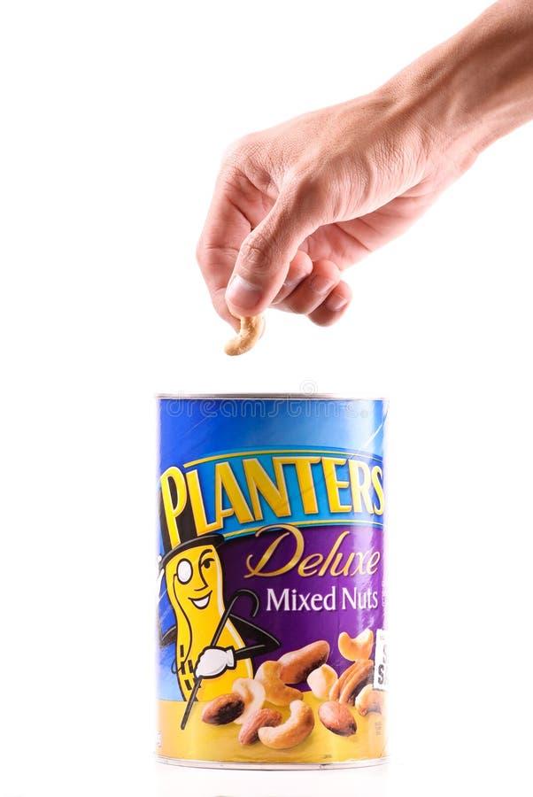 Hebbend een Gezonde Snack met Planters sleep Mengeling royalty-vrije stock afbeeldingen