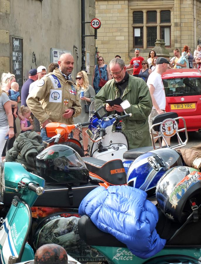 Mods and scooters in hebden bridge for the easter bank holiday monday. Hebden bridge, west yorkshire, england - 22 april 2019: mods and scooters in hebden bridge stock photos