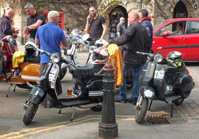 Mods and scooters in hebden bridge for the easter bank holiday monday. Hebden bridge, west yorkshire, england - 22 april 2019: mods and scooters in hebden bridge stock images