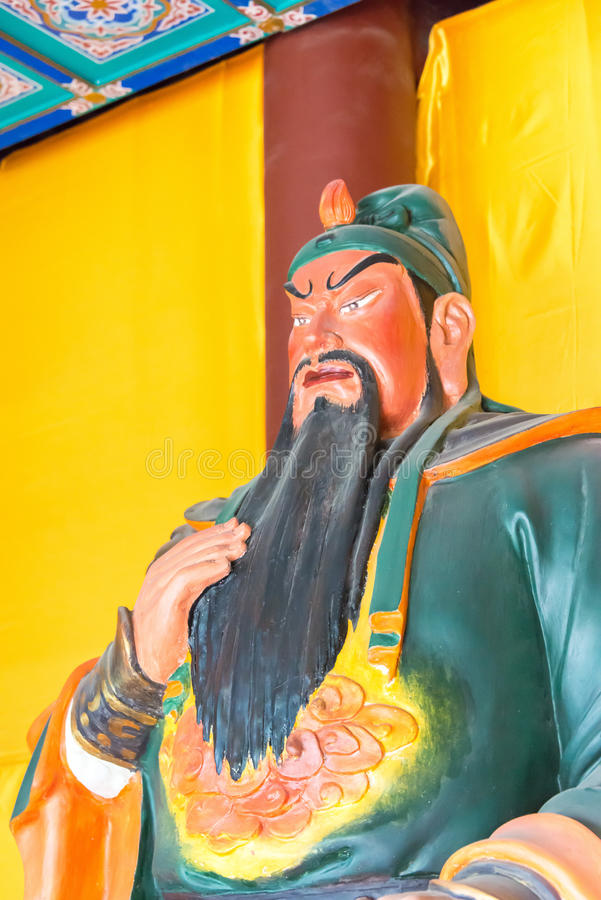 HEBEI, CHINA - Oct 23 2015: Guan yu Statue at Zhaoyun Temple. a stock images