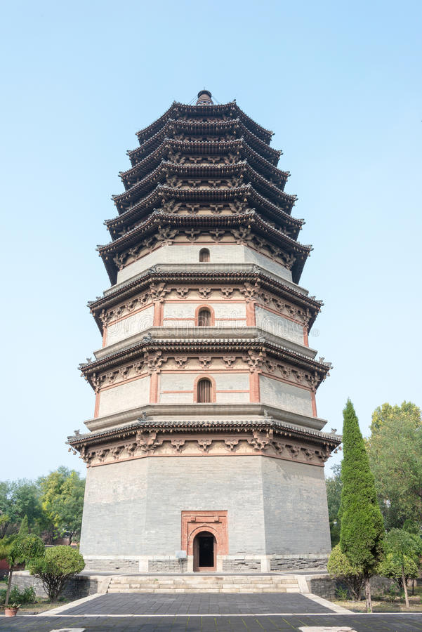 HEBEI, CHINA - Oct 23 2015: Lingxiao Pagoda at Tianning Temple. A famous historic site in Zhengding, Hebei, China royalty free stock images