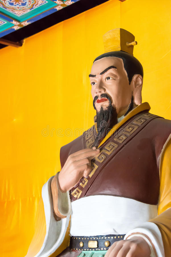 HEBEI, CHINA - Oct 23 2015: Liu bei Statue at Zhaoyun Temple. a. Famous historic site in Zhengding, Hebei, China stock photography