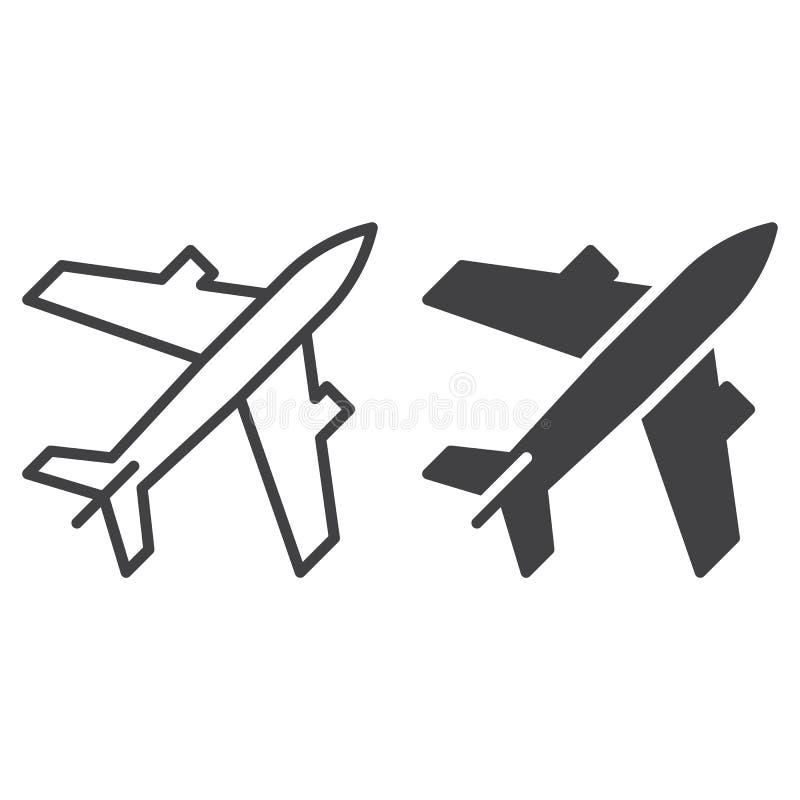 Hebluje, lotniska, kontur i piktogram odizolowywający na bielu ikona, kreskowa i stała, wypełniający wektoru znaka, liniowego i p ilustracja wektor