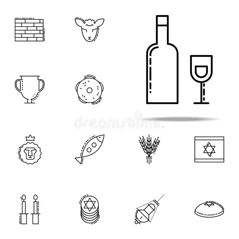Hebräische Weinikone Judentumsikonen-Universalsatz für Netz und Mobile vektor abbildung