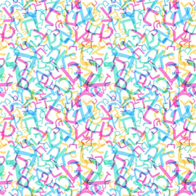Hebreeuws alfabet naadloos patroon Hebreeuws ABC vector illustratie
