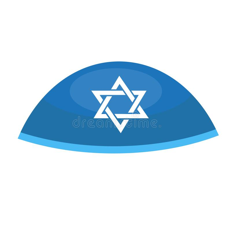 Hebreeuws baalpictogram, vlakke stijl Godsdienstige Joodse hoed Geïsoleerdj op witte achtergrond Vector illustratie vector illustratie