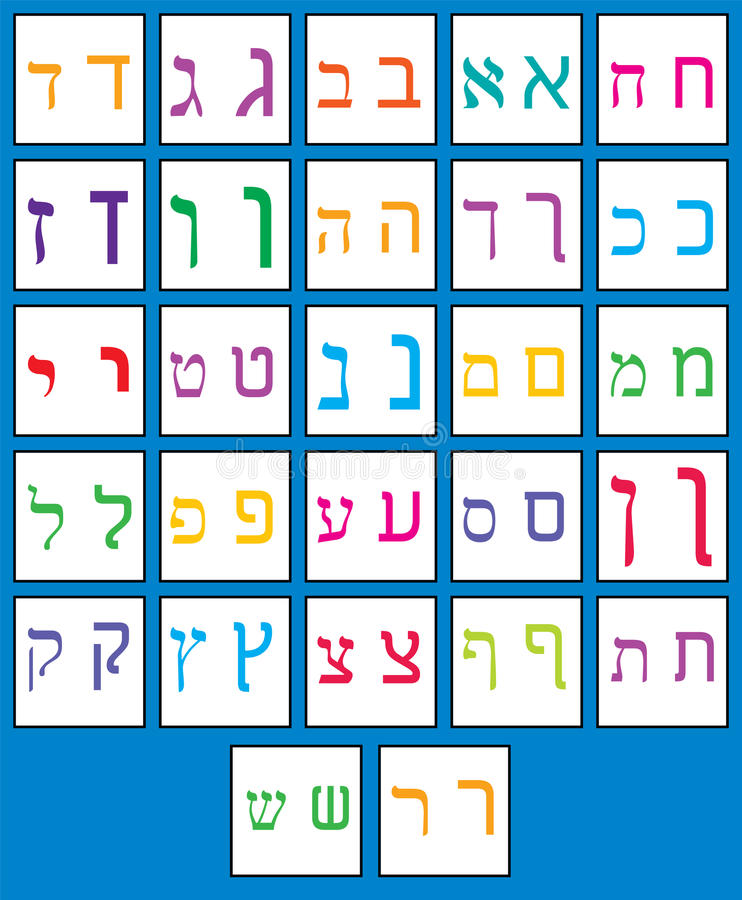 Hebrew alphabet. stock illustration