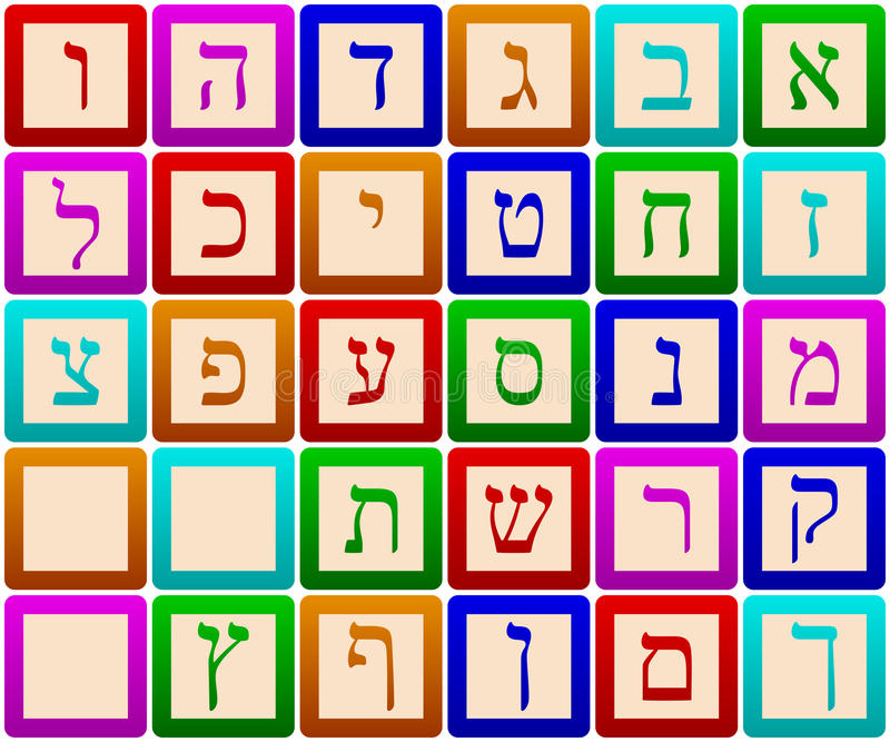 Hebrew Alphabet Blocks. Isolated on white background. Eps file available