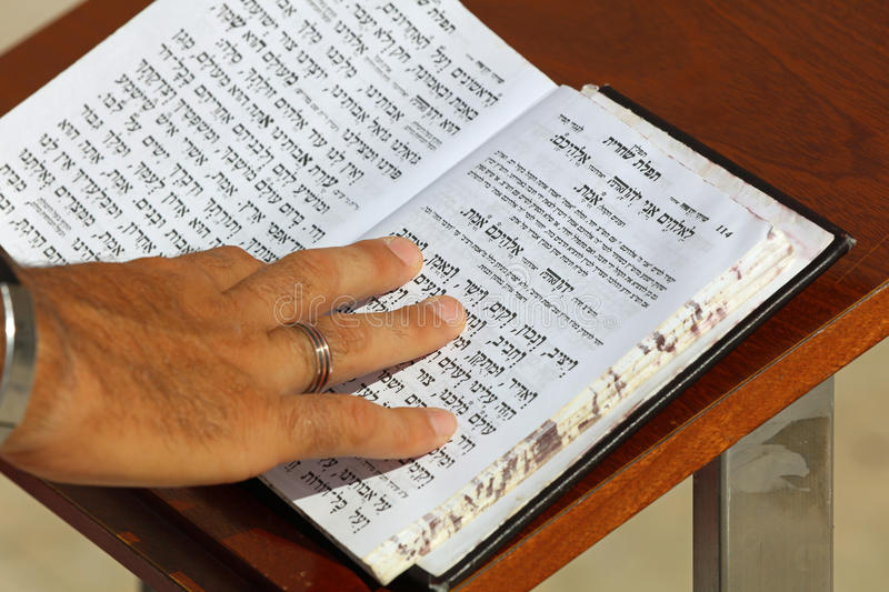 Hebrew Bible at the Wailing Wall in Jerusalem stock images