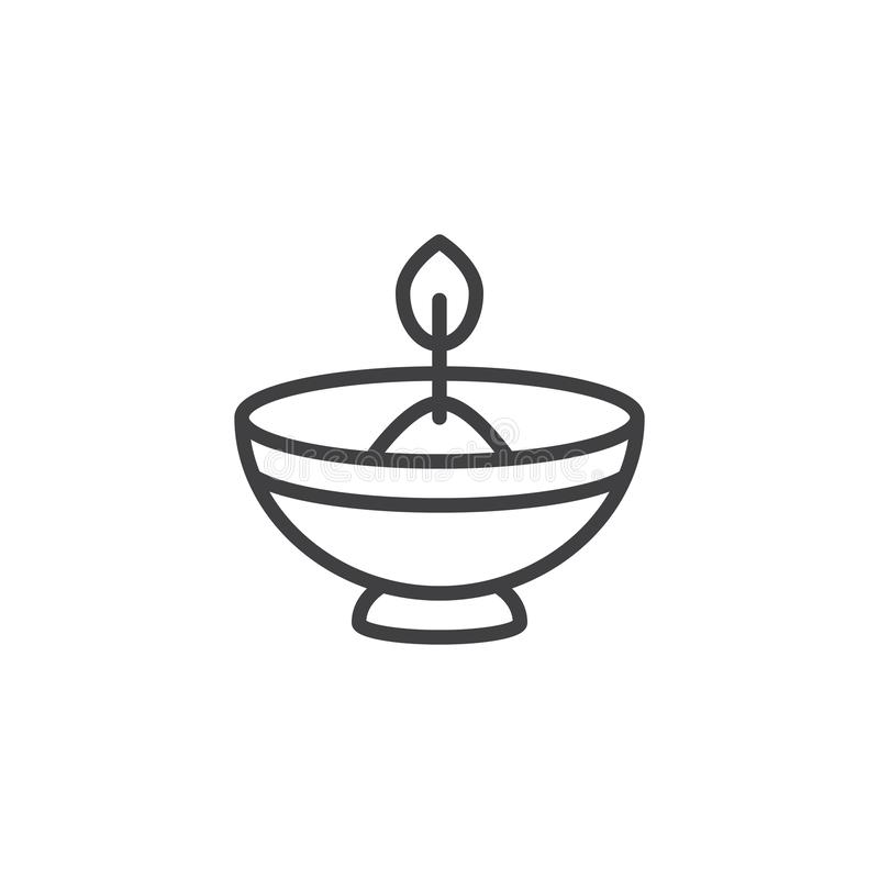 Hebrew Candle outline icon. Linear style sign for mobile concept and web design. Oil lamp simple line vector icon. Symbol, logo illustration. Pixel perfect stock illustration