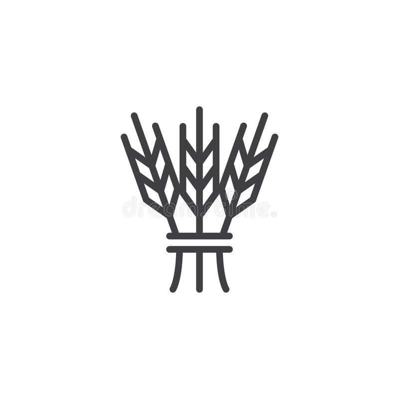 Hebrew cereal outline icon. Linear style sign for mobile concept and web design. Israel Barley simple line vector icon. Jewish symbol, logo illustration. Pixel vector illustration