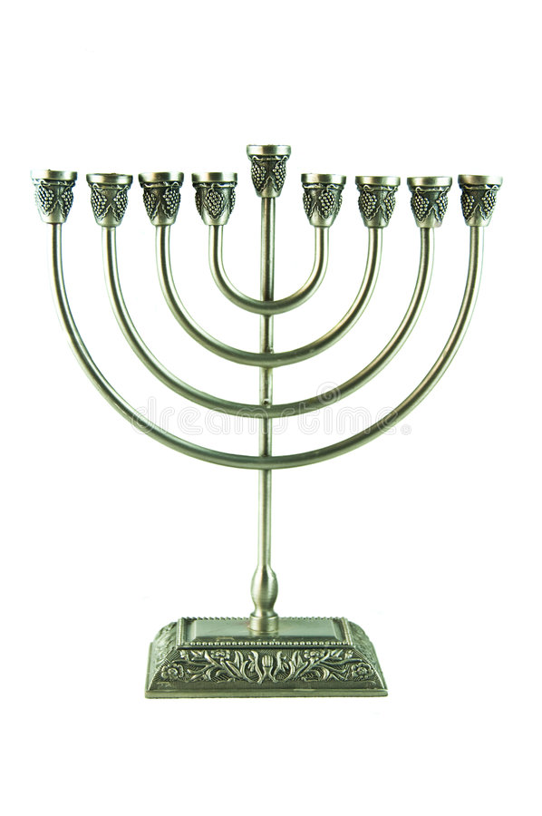 Hebrew Hanukkah Menorah. A Hanukkah menorah, a nine-branched candelabrum lit during the eight-day holiday of Hanukkah. Jewish ceremonial art and a traditional royalty free stock photography
