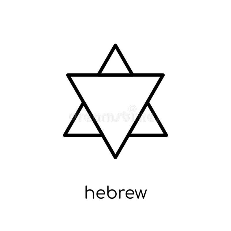 Hebrew icon. Trendy modern flat linear vector Hebrew icon on white background from thin line Religion collection. Editable outline stroke vector illustration royalty free illustration