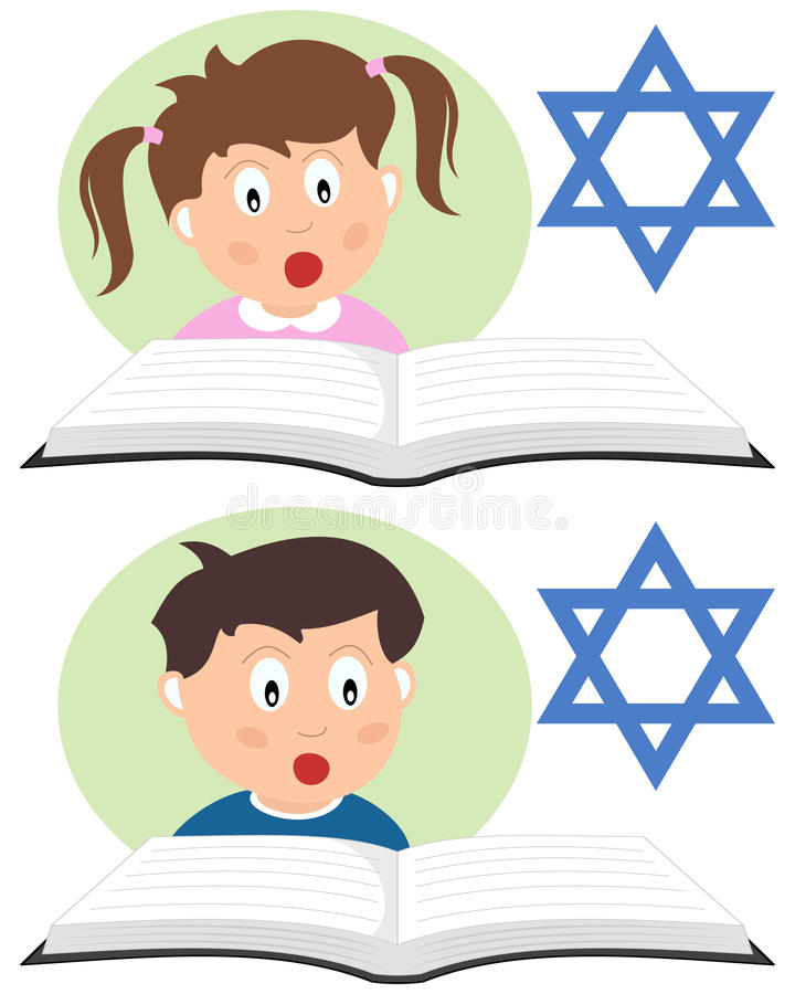 Hebrew Kids Reading a Book. Two Hebrew kids reading a book and learning. Eps file available vector illustration