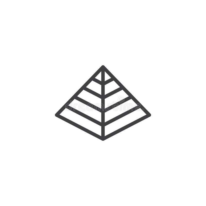 Hebrew Pyramid outline icon. Linear style sign for mobile concept and web design. Passover simple line vector icon. Jewish holiday symbol, logo illustration stock illustration