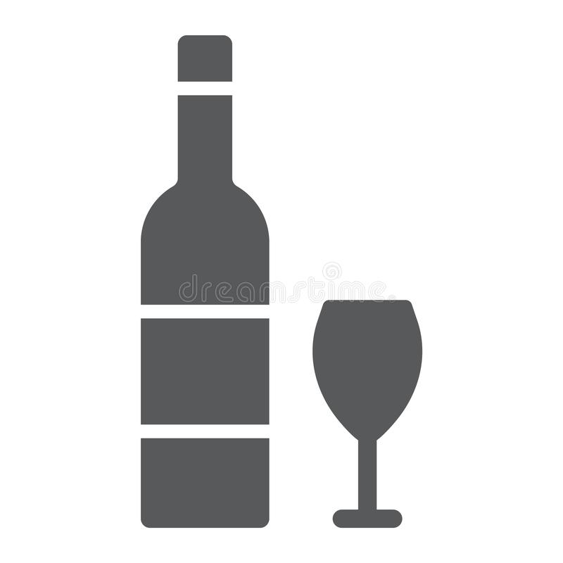 Hebrew wine glyph icon, jewish and drink, bottle and glass sign, vector graphics, a solid pattern on a white background. stock illustration