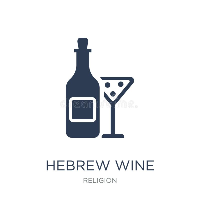 Hebrew Wine icon. Trendy flat vector Hebrew Wine icon on white b. Ackground from Religion collection, vector illustration can be use for web and mobile, eps10 royalty free illustration