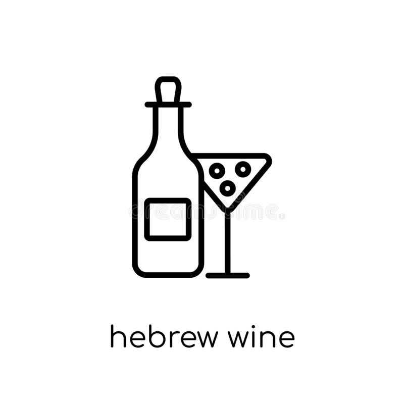 Hebrew Wine icon. Trendy modern flat linear vector Hebrew Wine i. Con on white background from thin line Religion collection, editable outline stroke vector royalty free illustration