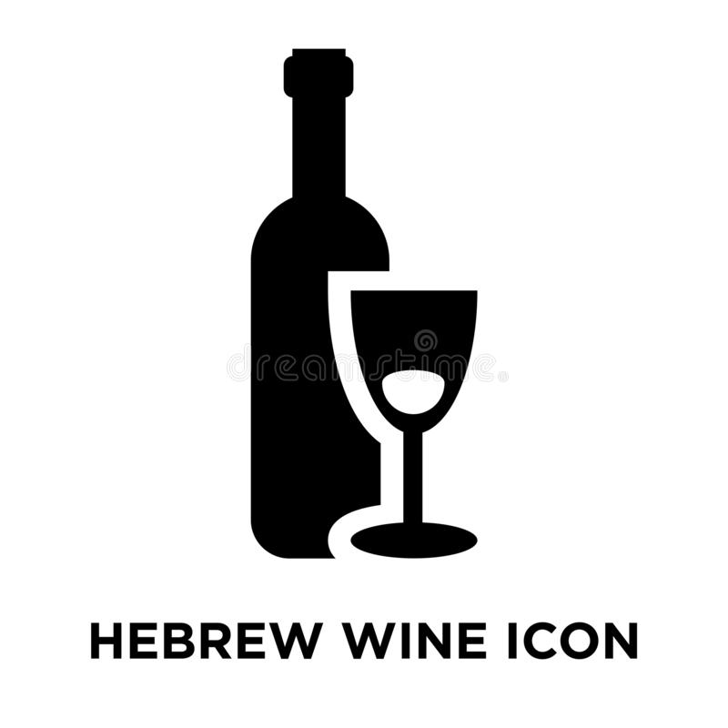 Hebrew Wine icon vector isolated on white background, logo concept of Hebrew Wine sign on transparent background, black filled stock illustration