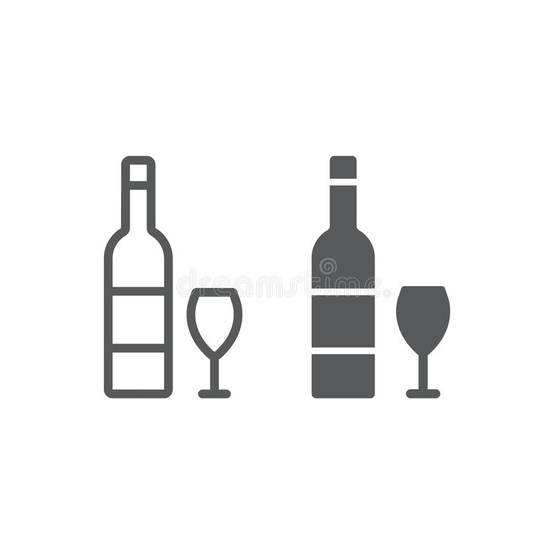 Hebrew wine line and glyph icon, jewish and drink, bottle and glass sign, vector graphics, a linear pattern on a white stock illustration
