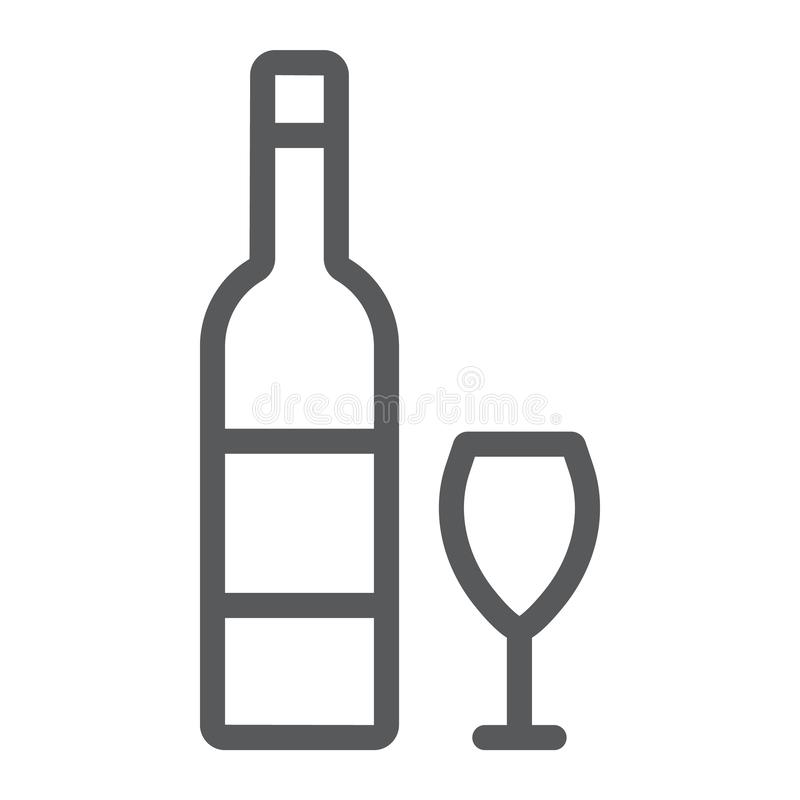 Hebrew wine line icon, jewish and drink, bottle and glass sign, vector graphics, a linear pattern on a white background. stock illustration