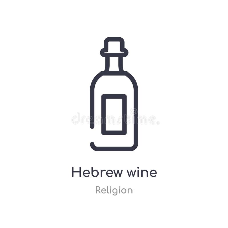 Hebrew wine outline icon. isolated line vector illustration from religion collection. editable thin stroke hebrew wine icon on. White background stock illustration