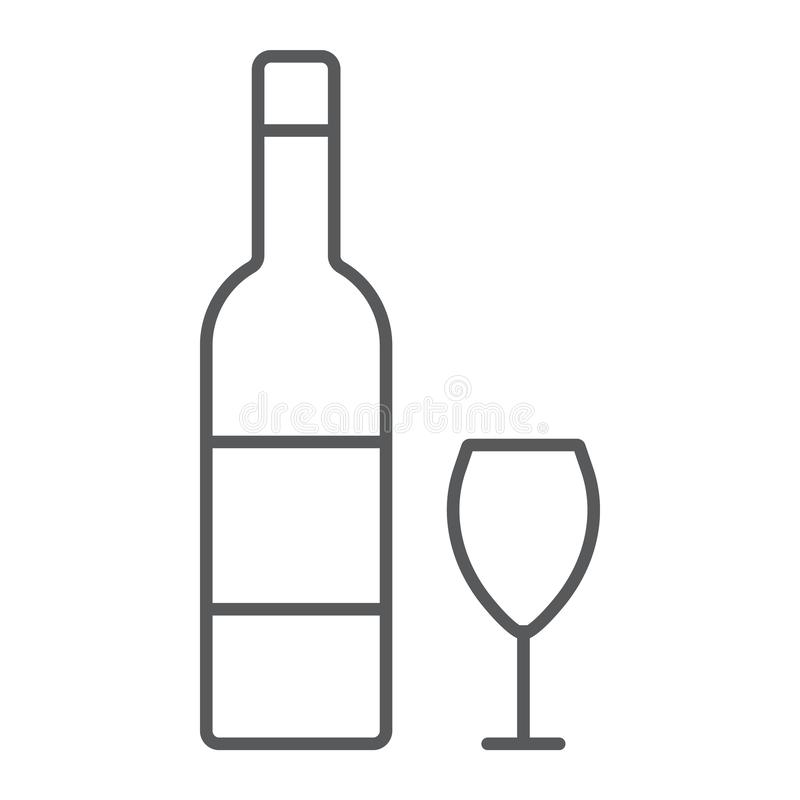 Hebrew wine thin line icon, jewish and drink, bottle and glass sign, vector graphics, a linear pattern on a white. Background, eps 10 stock illustration