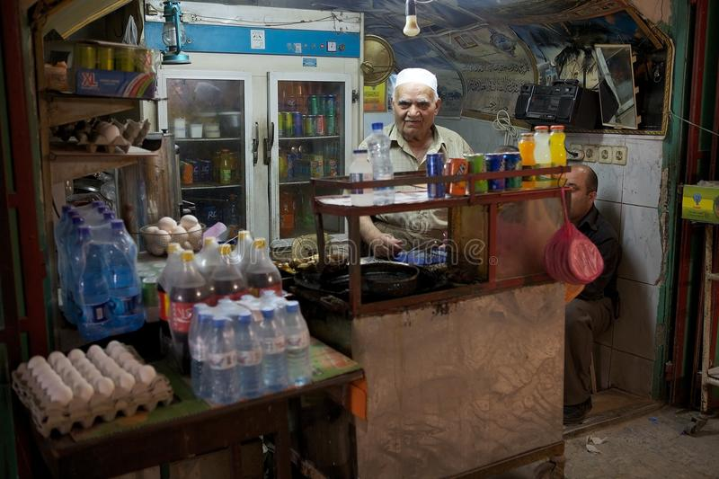 Hebron. Palestinian vendor at the souk in the old town of Hebron, Palestinian territory, Israel stock photography