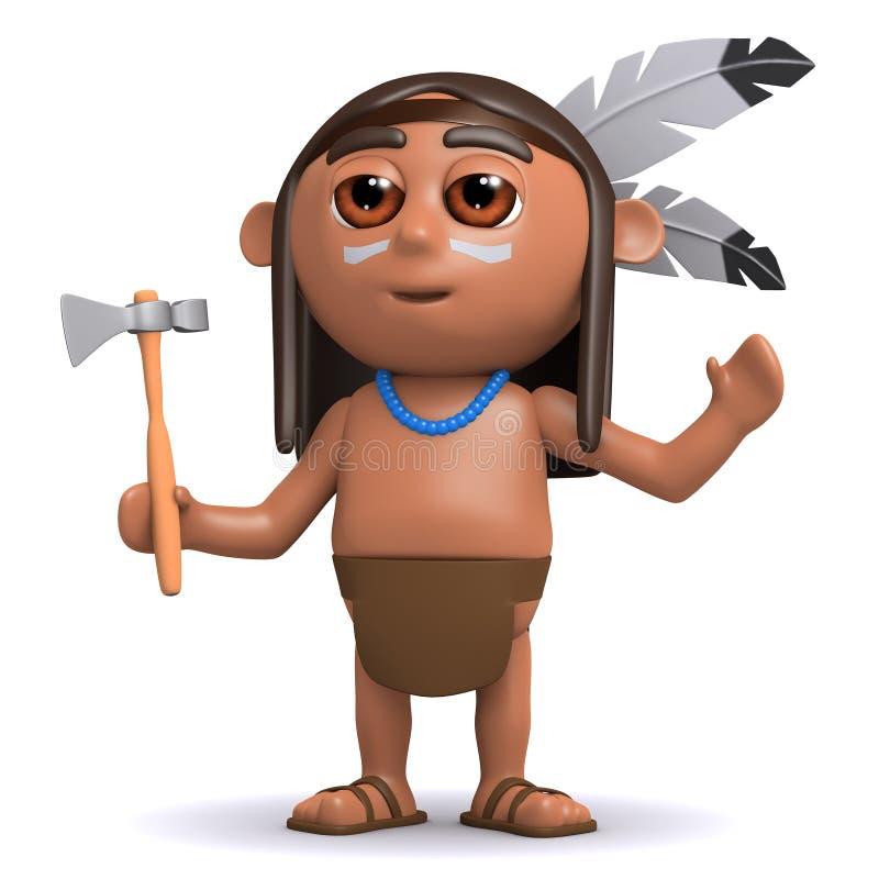 hebt gebürtiger indianischer Junge 3d seine Arme an lizenzfreie abbildung