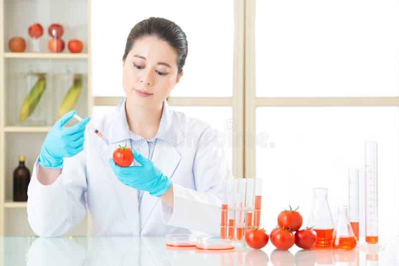 Hebt u de moed om genetische modificatievoedsel te proberen stock foto